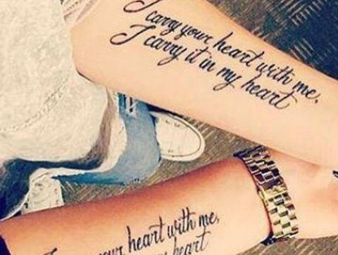 Tatouages Phrases Tatouage En Couple 50 Tatouages De Phrase Reperes Sur Pinterest