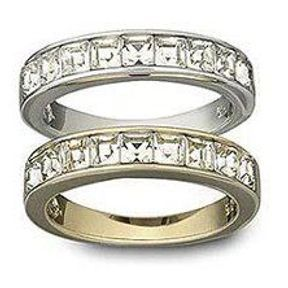 Alliance mariage or blanc et cristaux Swarovski